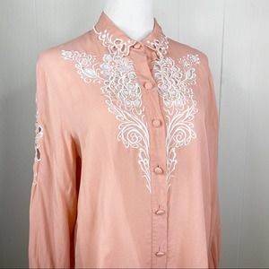 Bob Mackie Wearable Art Pink Silk Blouse Large